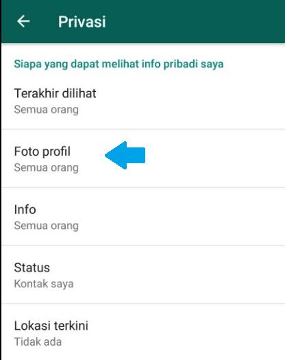 setting foto profil pada aplikasi whatsapp