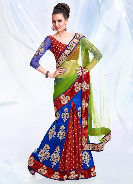 Color Pleated Sarees