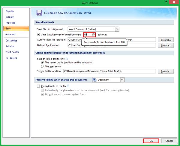 Cara Mengatur Waktu Autosave di MS Word 2007+ 13