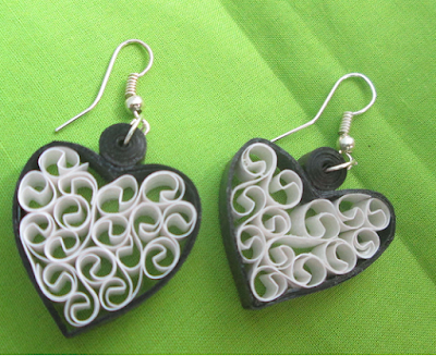 Black colors quilling earring designs - quillingpaperdesign