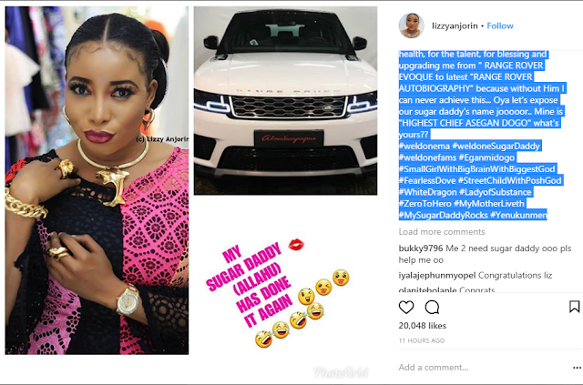 Lizzy Anjorin  promises to give it to her Sugar Daddy in a grand style on bed, Over  Autobiography Range Rover Gift.