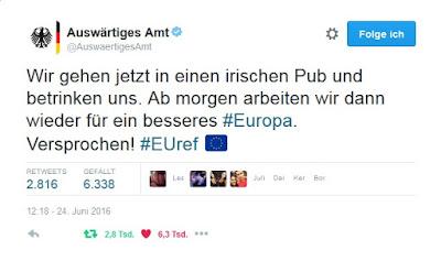 """Wir gehen jetzt in einen irischen Pub und betrinken uns. Ab morgen arbeiten wir dann wieder für ein besseres #Europa. Versprochen"""" #EUref"""