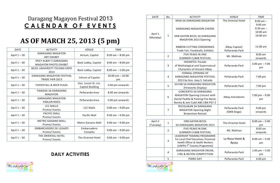 Byahero Updated Daragang Magayon Festival 2013 Calendar