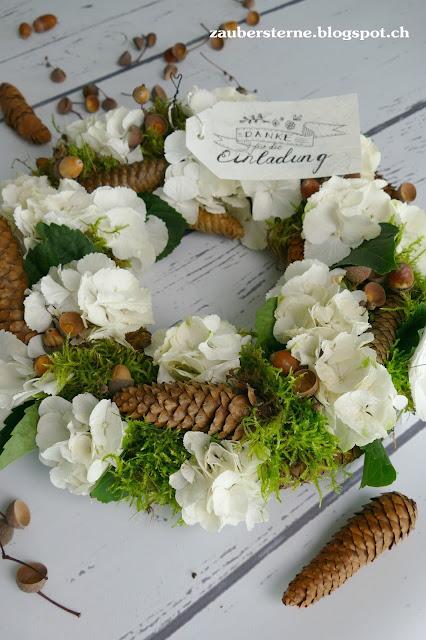 Handlettering, Frau Annika, Herbstkranz, Hortensienkranz