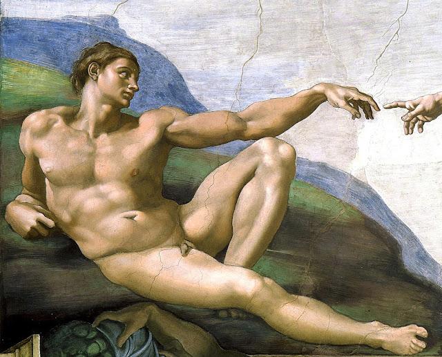 Michelangelo Buonarroti - la creazione di Adamo - nudo pittorico maschile