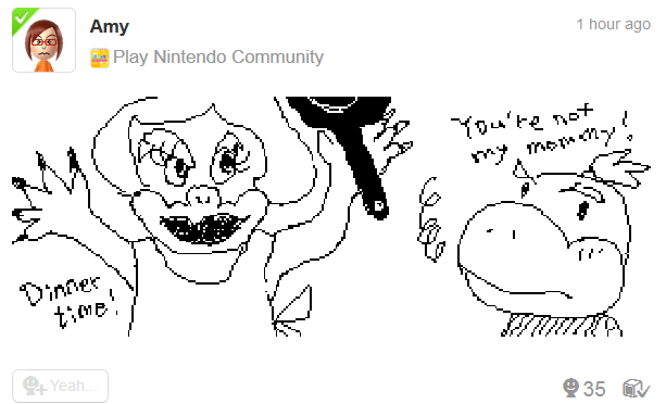 Nintendo Miiverse Amy drawing Bowser Jr. mother you're not my mommy