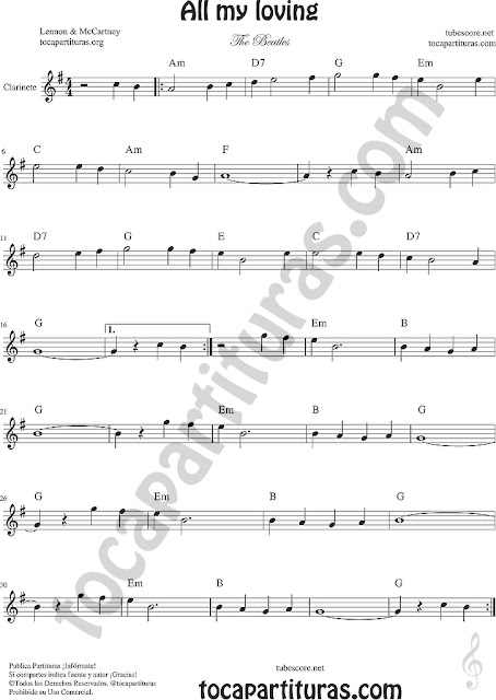 All my loving Partitura de Clarinete Sheet Music for Clarinet