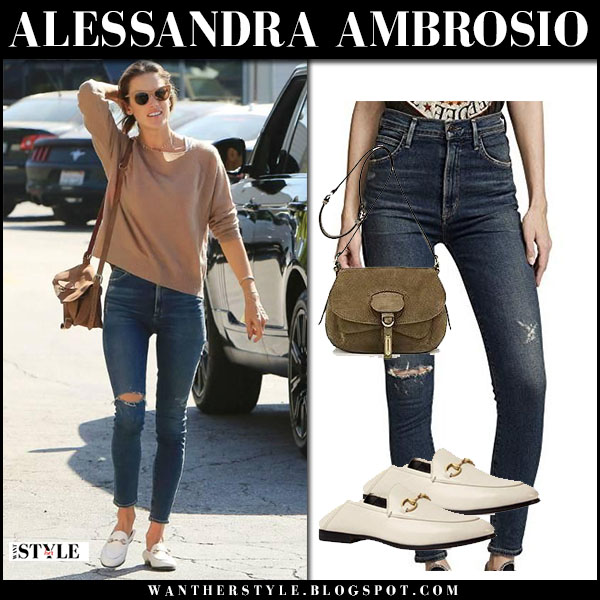 Alessandra Ambrosio in camel sweater, ripped skinny jeans and white loafers gucci model street style february 1