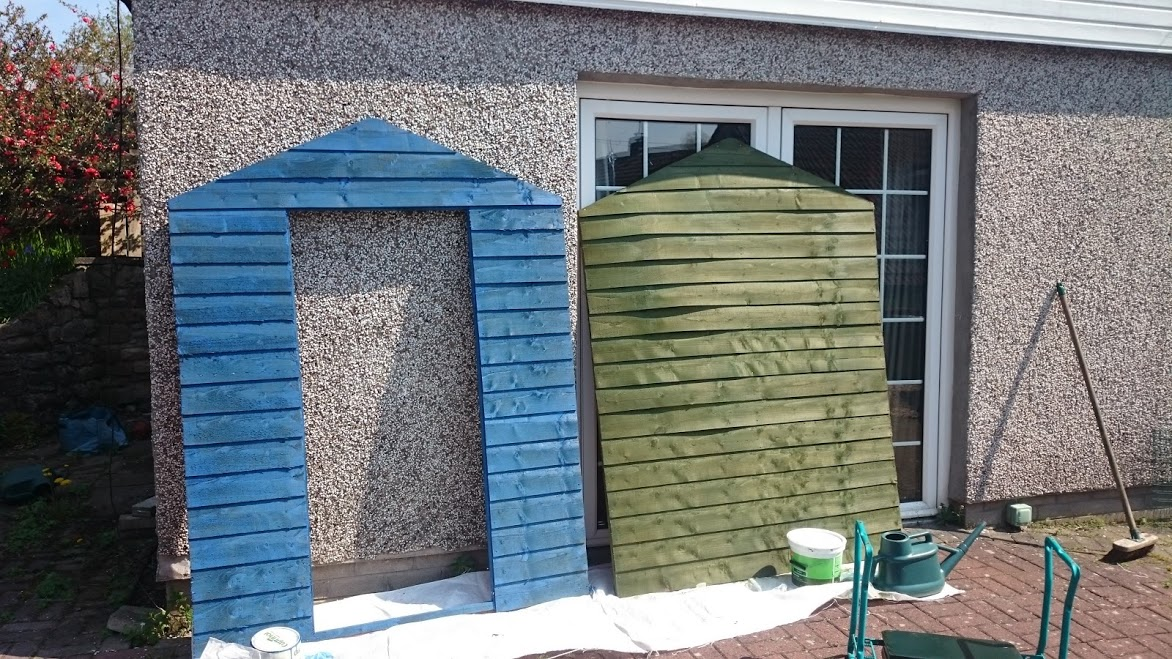 So It Was A Shed Painting Day I D Run Out Of Pink Paint Started To Use Up The Blue From My Raised Beds And Green Fence