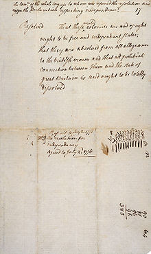 Original handwritten copy of the Lee Resolution