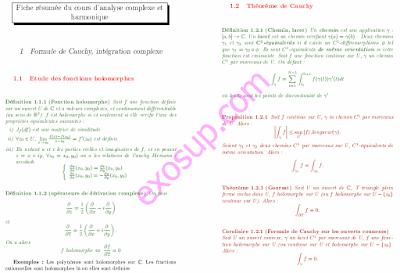 résumé du cours d'analyse complexe Fiche résumée du cours d'analyse complexe et harmonique
