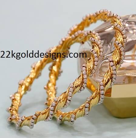 TBZ Gold and Diamond Bangles