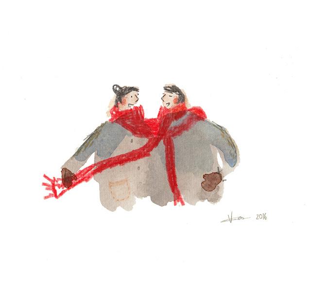 vicky alvarez - winter love illustration