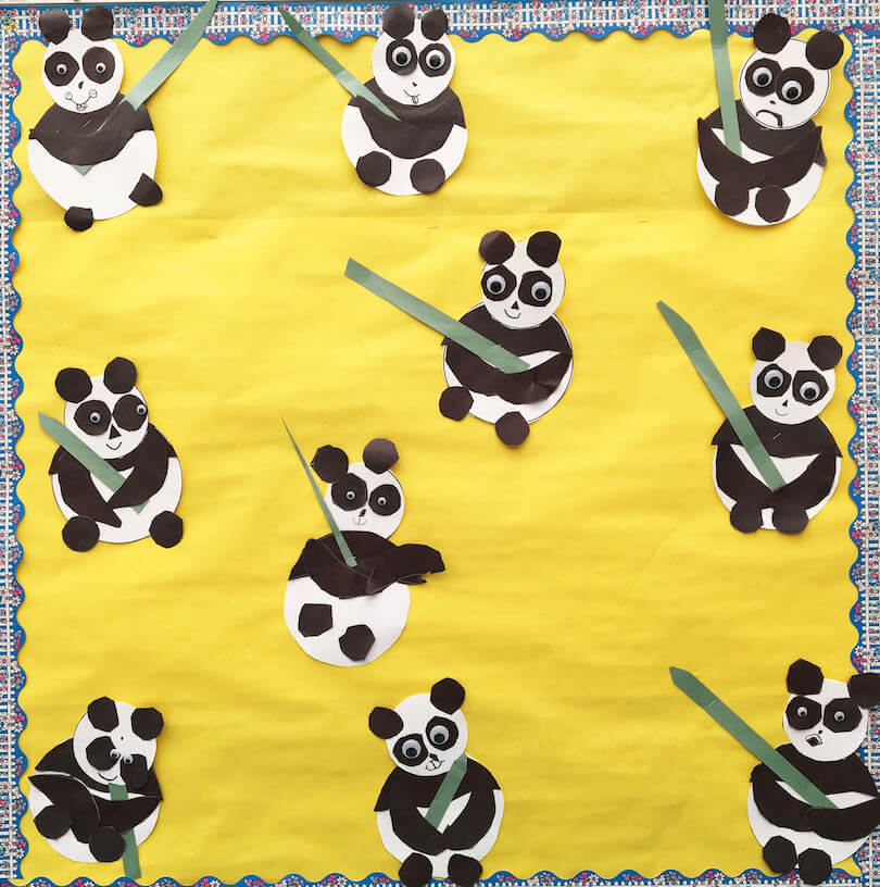 Spring Gallery Art:  Panda Bears  by a 1st Grade Class