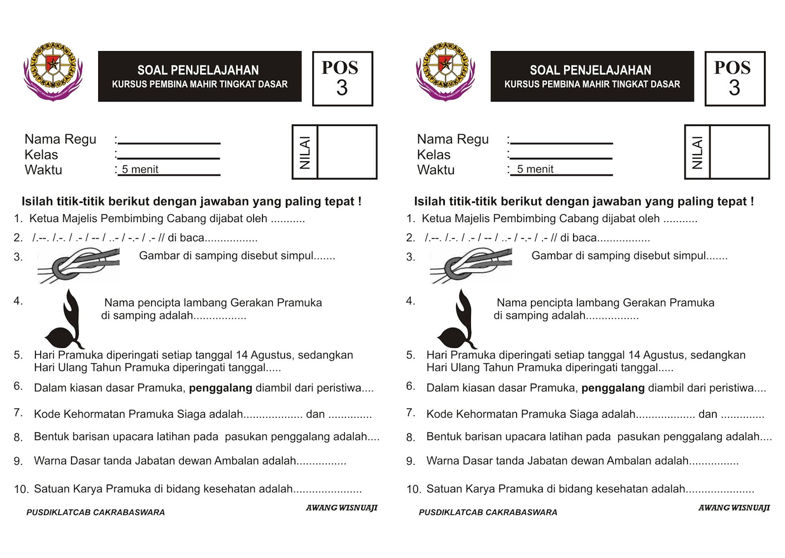 Soal Pramuka Kelas 3 Sd