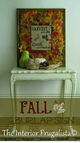 Step by step tutorial on how to make a fall burlap sign