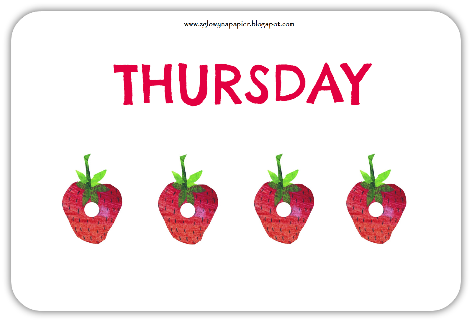 The Very Hungry Caterpillar Days Of The Week Free Flashcards