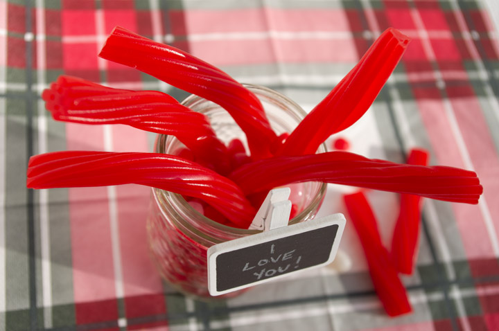 Valentine's Day Decor | red candies, twizzlers, red-hots | personallyandrea.com