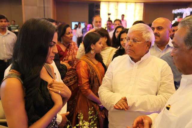 Veena Malik with Laloo Prasad Yadav at Sahara Channel Launch