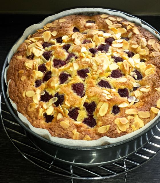 Raspberry, Almond and Custard Cake fresh from the oven