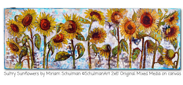 sunflower painting by miriam schulman http://schulmanart.blogspot.com/2015/09/preparing-to-plant-painting.html