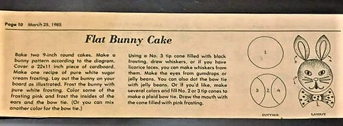 Flat Bunny Cake newspaper clipping showing the diagram how to cut and make the cake.
