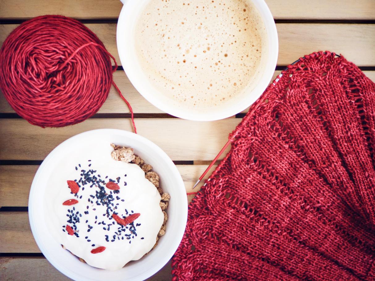 Teststricker werden - Malabrigo Wolle passend zu Goji-Beeren