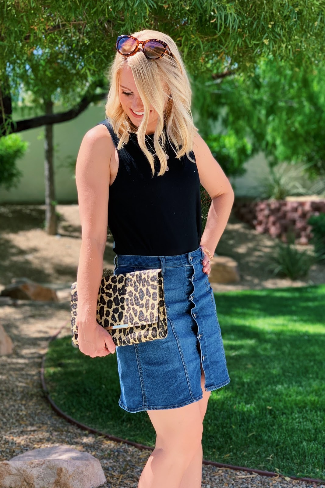 Button front denim skirt with black top