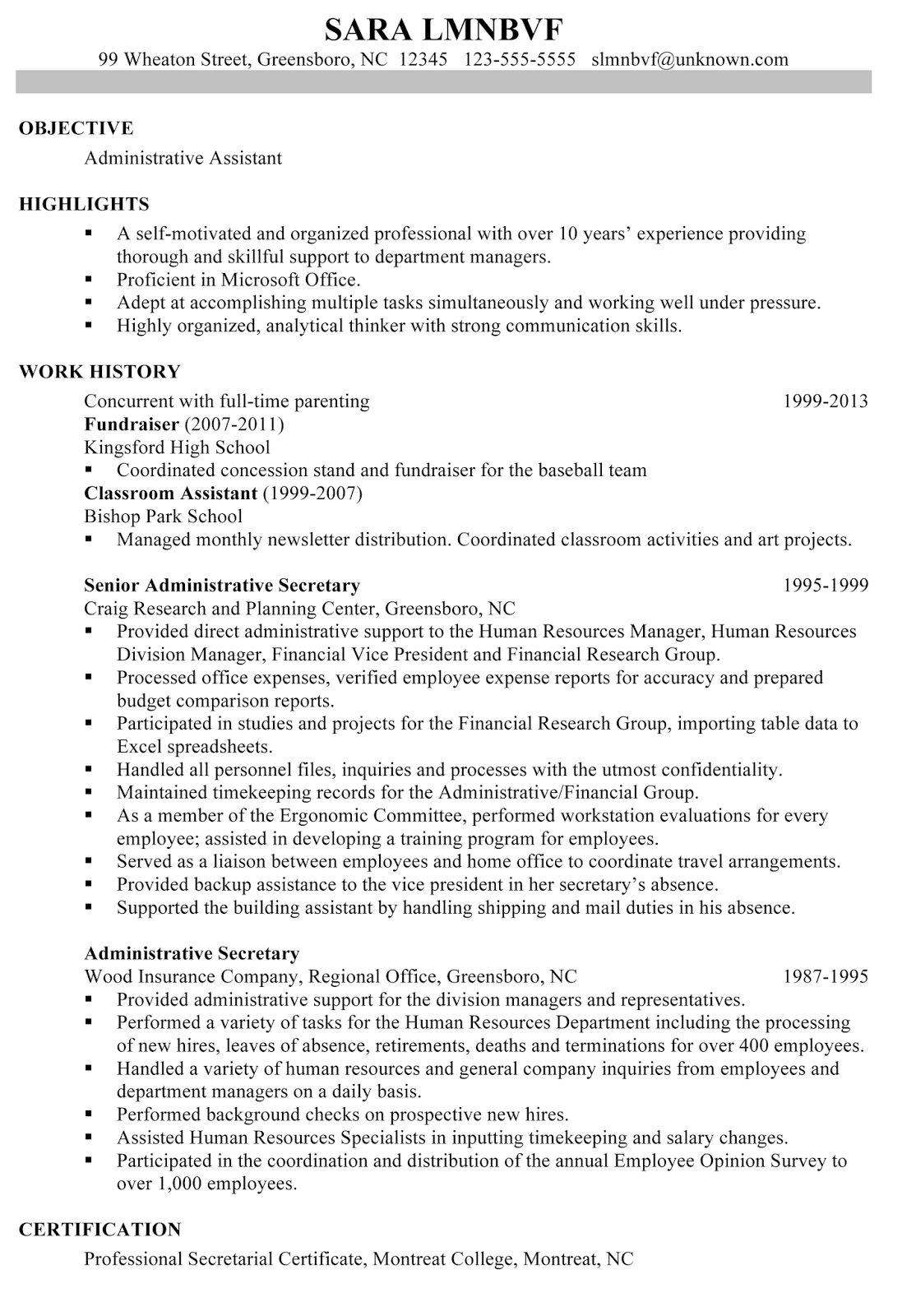 Examples Of Highlights Of Qualifications In A Resume