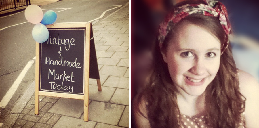 Vintage and handmade market sign, 1950s headband.