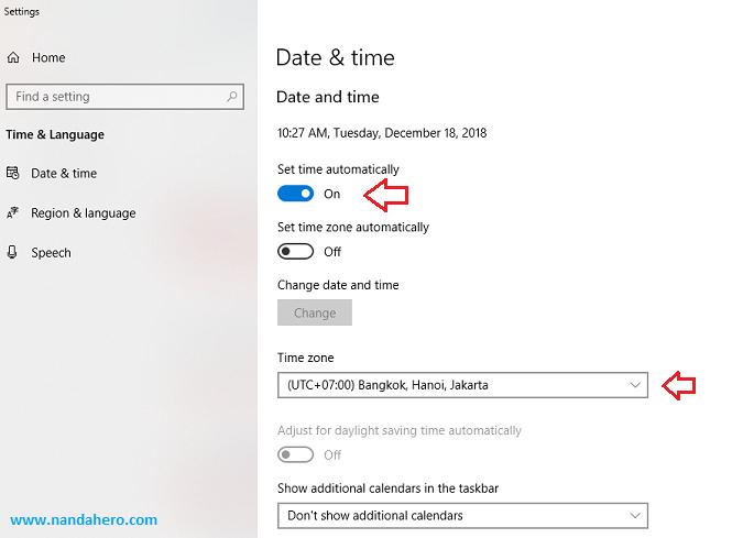 Menyunting Waktu dan Tanggal di Windows 10