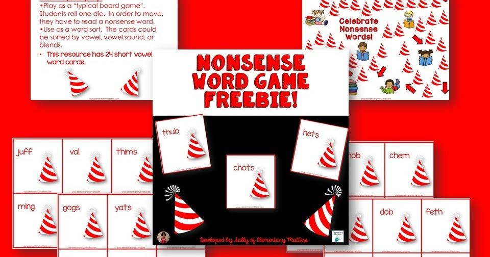 Elementary Matters Nonsense Word Board Game Freebie