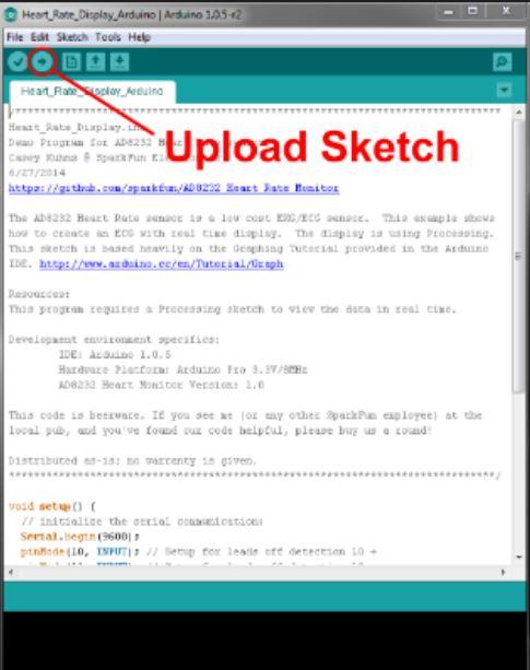 upload the code into Arduino board