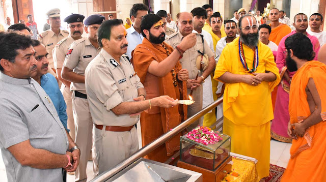 Shree Siddhada Ashram Temple, which reached DGP Haryana B. S. Sandhu, took blessings