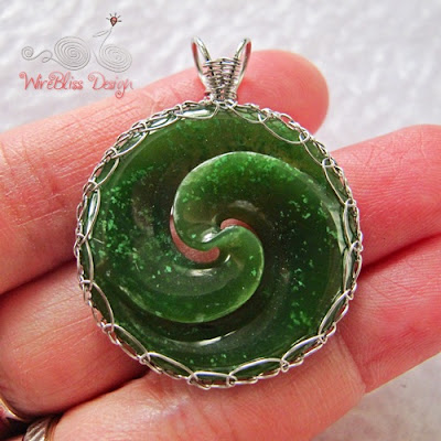 wire wrap, viking knit NZ jade pendant