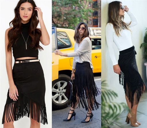 black suede fringe skirt