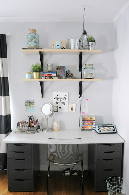 IKEA desk and shelving in teenaged girl's bedroom