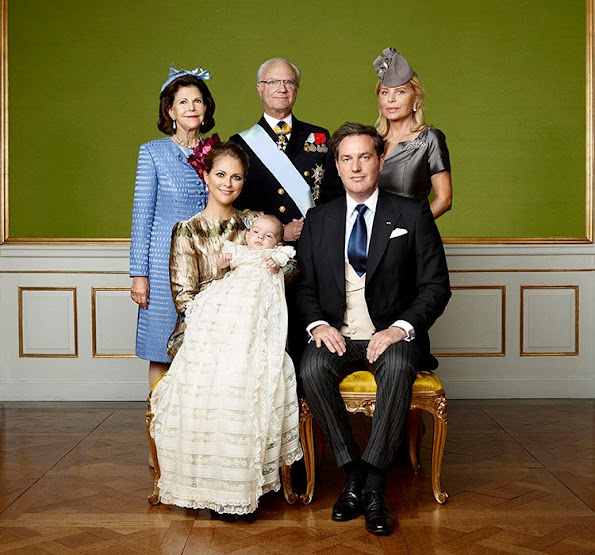 King Carl Gustaf, Queen Silvia and Mrs Eva O'Neill, while a third features Nicolas' aunts and uncles, including Crown Princess Victoria, who is herself expecting her second baby, and Prince Carl Philip