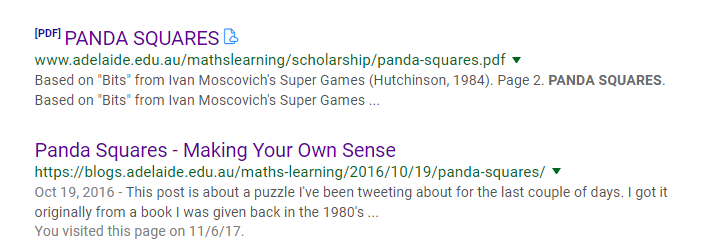 Math love panda squares puzzle fun from his blog post i learned that the puzzle was from a book titled ivan moscovichs super games affiliate link david asked his daughter to rename the ccuart Gallery