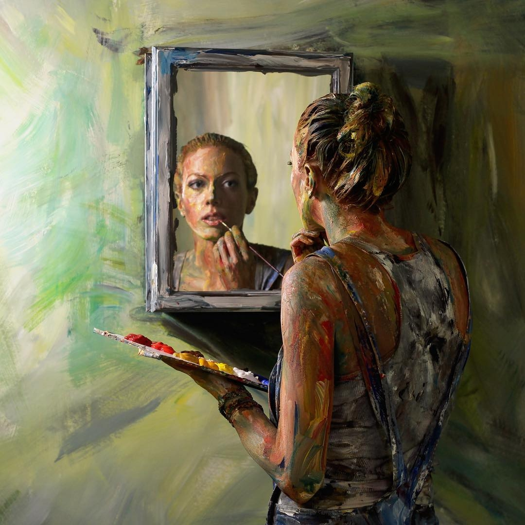 03-In-the-Mirror-Alexa-Meade-Body-Paint-made-to-look-like-a-Painting-on-Canvas-www-designstack-co