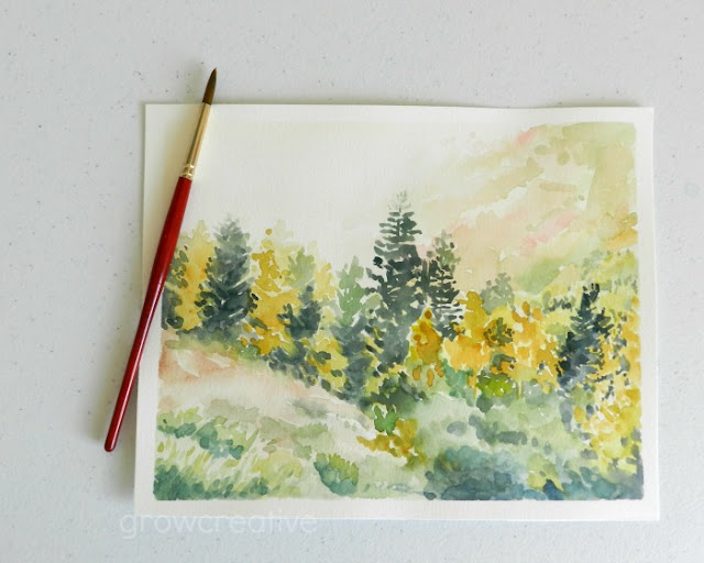 Watercolor Forest Landscape Painting by Elise Engh