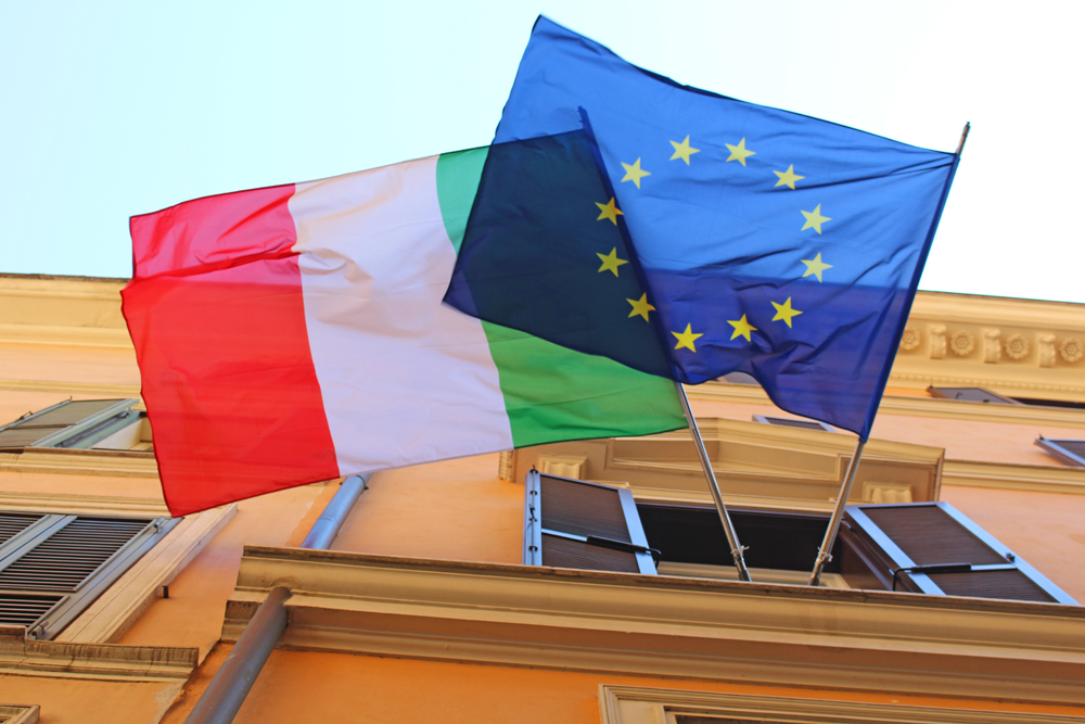 Italy and EU flags - Rome travel blog