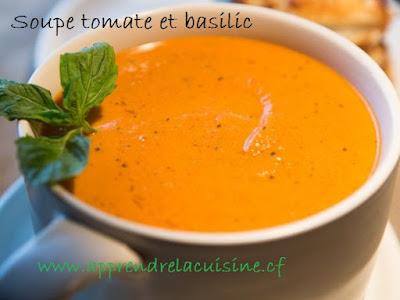 Soupe tomate et basilic