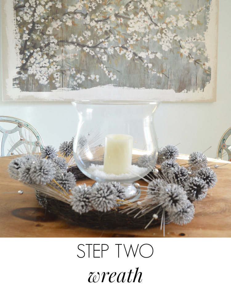 simple winter table decorations via A Blissful Nest by Cheers Y'all. Christmas decorations are put away and now we have a simple and elegant table decoration that anyone can make!