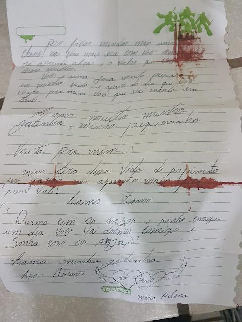 Antes de tentar matar ex, suspeito escreveu carta pedindo desculpas