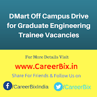 DMart Off Campus Drive for Graduate Engineering Trainee Vacancies