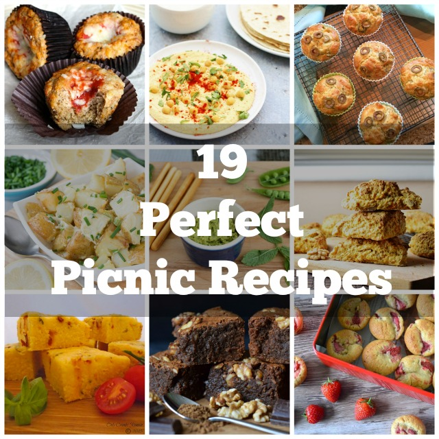 19 vegetarian picnic recipe ideas, all are easy to make, package up and transport to a beautiful countryside location