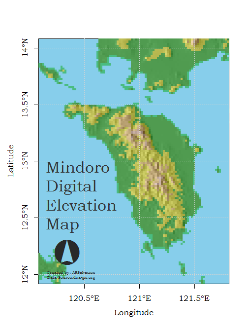 Mindoro digital elevation map r bloggers gumiabroncs Gallery