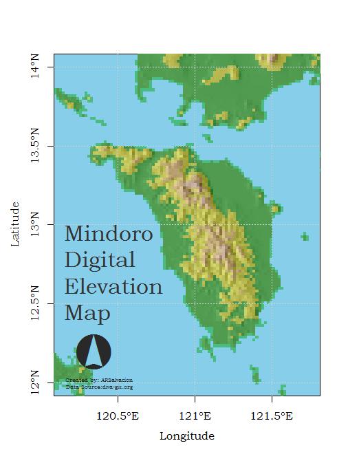 Mindoro Digital Elevation Map Rbloggers - Elevation map