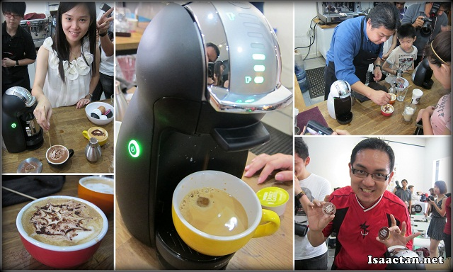 Janice and I trying our hands at the simple to use Nescafe Dolce Gusto Coffee machine